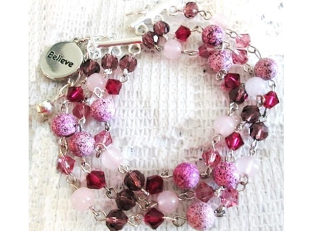 Believe Charm Gemstone Beaded Triple Strand Bracelet, Jasper Bracelet, Rose Quartz Bracelet, Fuchsia Beads, Sale Beaded Jewelry, Rose Quartz