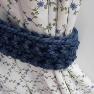 Blue Curtain Tiebacks Tie Backs Set, One Pair of Solid Medium Denim Blue Drapery Drapes Holders, Crochet Knit, Basic Simple Bedroom Decor, Ready to Ship in 2 Days