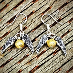 Harry Potter's Golden Snitch Sterling Silver and Glass Pearl Earrings