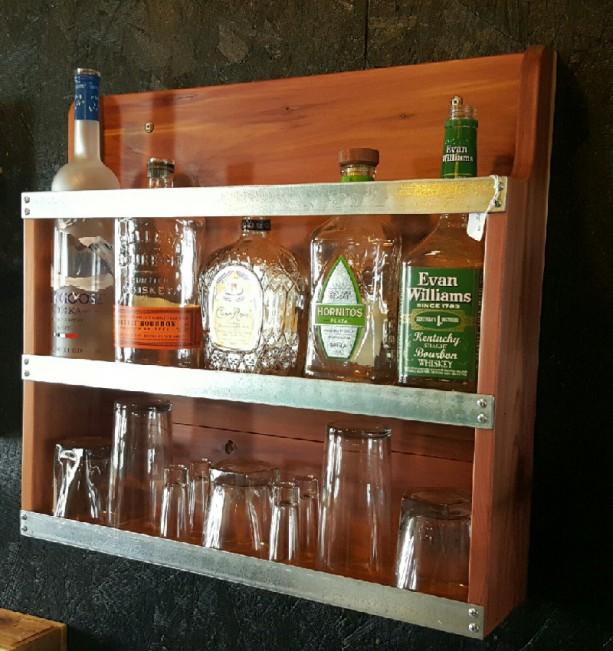 Liquor Cabinet Mini Bar Handcrafted Cabinet Rustic