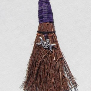 Mini Witchcraft Pagan Besom Ornament with Triple Moon Goddess Pentagram Decor