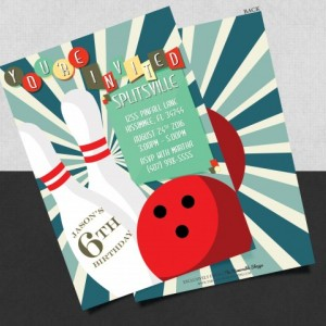 Printed Classic Bowling Birthday Card Invitation