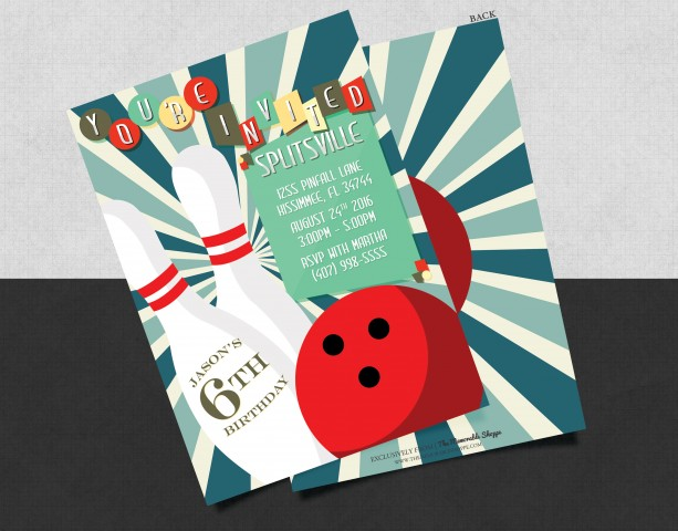 Printed Classic Bowling Birthday Card Invitation