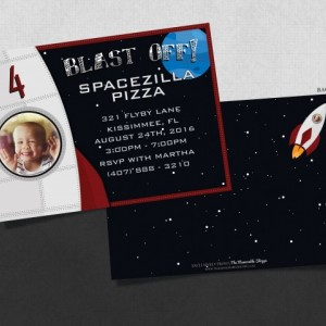 Printed Spaceship Birthday Invitation with Child's Picture!