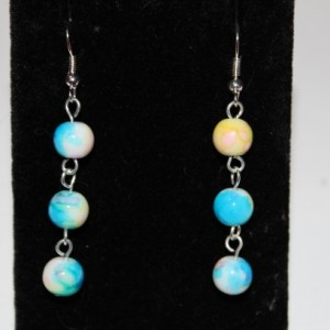 Long white yellow and blue beaded earrings