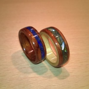 Hand Made Bubinga Waterfall Inlayed w/blue lapis: Beech & Spanish Cedar inlayed w/Abalone shell wooden rings