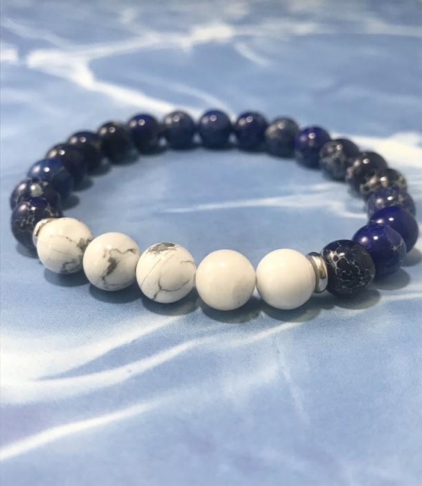 The Rey | handmade beaded stretch bracelet, howlite beads, blue sea sediment jasper beads, stainless steel, men's / unisex, Gifts for Him