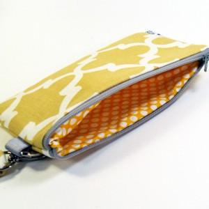 Medium Wristlet Zipper Pouch Clutch - Mustard Fulton