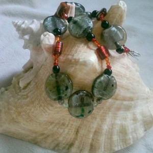Gray and Speckled Lampwork Necklace