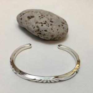 Silver Filed Pattern Bracelet—Size 6.75 to 7