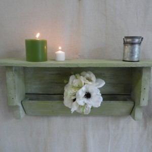 Rustic Green Pallet Shelf, Primitive Shelf, Pallet Wood Shelf, Green Shelf, Rustic Home Decor