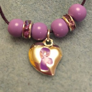 Purple Ribbon Charm Necklace