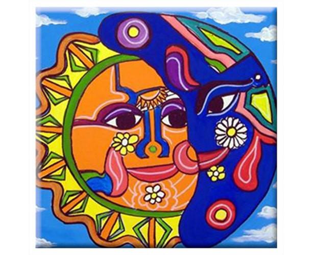 Mexican Folk Art - SUN & MOON - TILE Signed By Artist A.V.Apostle