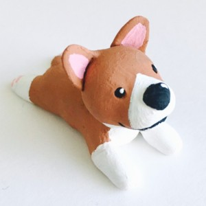 Handmade Clay Corgi Dog Canine Polymer Brown white Puppy sculpture figurine Totem