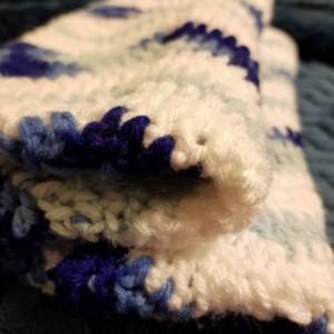 Blue chevron stripe baby Afghan. Newborn. Preemie.