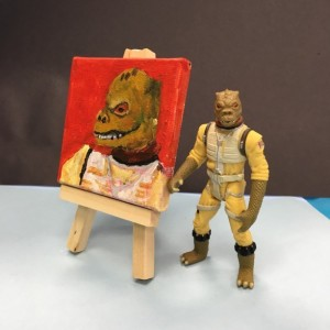 Star Wars Bossk the bounty hunter acrylic portrait on canvas.