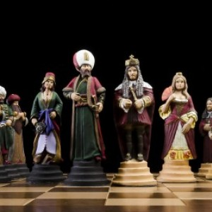 Habsburg vs Ottoman empire Handmade Tin Chess Set - hand painted