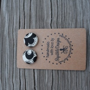 Fabric Button Earrings, Classic Black