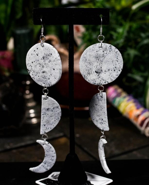 Large polymer clay moon cycle dangle earrings