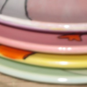 Hand painted Easter plates with Bunny Rabbits