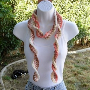 Women's Brown, Orange, Off White, & Cream Skinny SUMMER SCARF Small 100% Cotton Lightweight Spiral Crochet Knit Necklace Neck Tie, Ready to Ship in 3 Biz Days