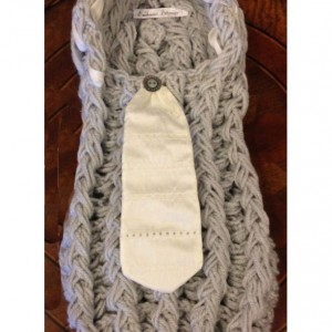 Gray Newborn Cocoon with Silk Tie