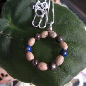 Eternity Circle Pendant: Lapis Pendant, Jasper Pendant, Lapis Lazuli Necklace