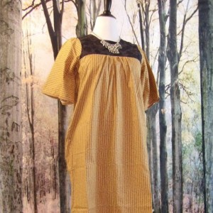 Handmade Rustic Yellow Women's Dress with Black Yoke