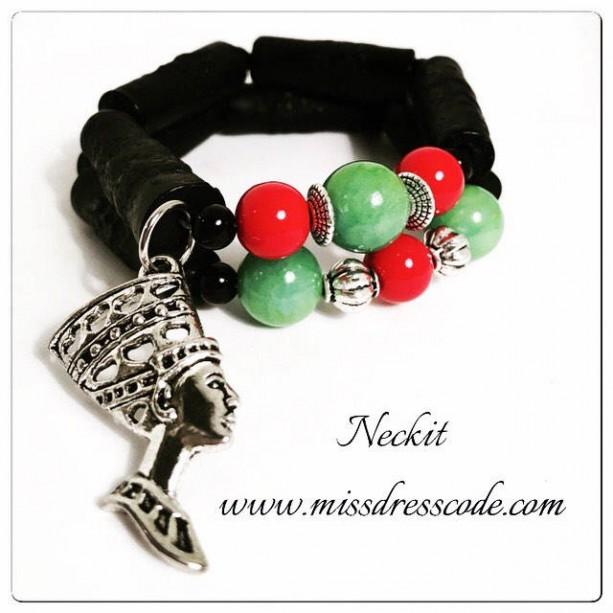 Afrocentric Nefertiti Charm Beaded Bracelet Set