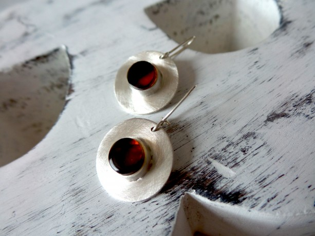 Sterling Silver Earrings , Cognack Amber earrings . Modern Earrings .