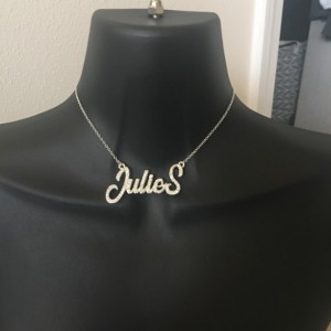 Personalized, diamond bling cursive name necklace