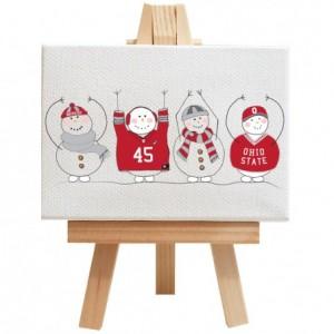 "Ohio state, snowman, gift. Personalized Buckeye gift, OHIO, unique Buckeye gift, snowmen in sweaters, snowmen in scarfs, 2.5"" x 3.5"""