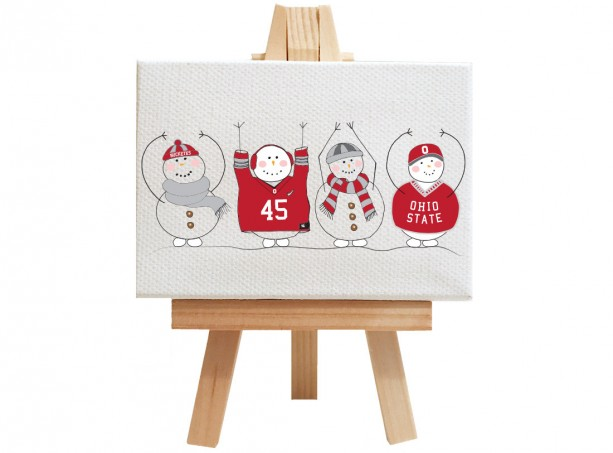 "Ohio state, snowman, gift. Personalized Buckeye gift, OHIO, unique Buckeye gift, snowmen in sweaters, snowmen in scarfs, 2.5"" x 3.5"""