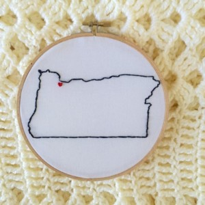 Custom Oregon Embroidery Hoop Art Wall Hanging