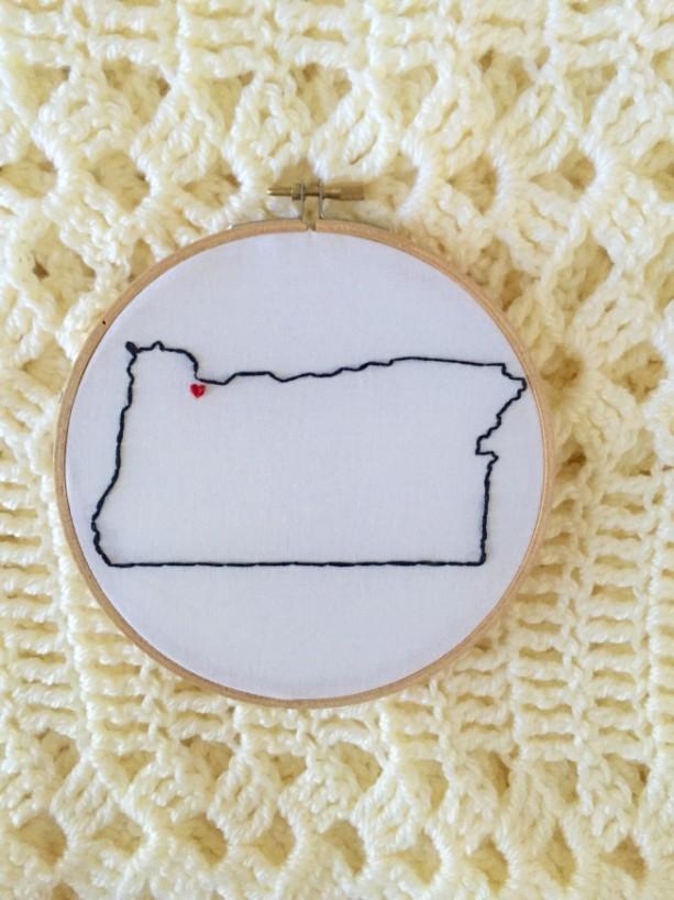 Custom Oregon Embroidery Hoop Art Wall Hanging