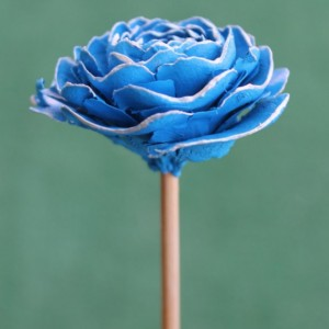 Light Blue Hand-Painted Cedar Rose Pine Cone Flower
