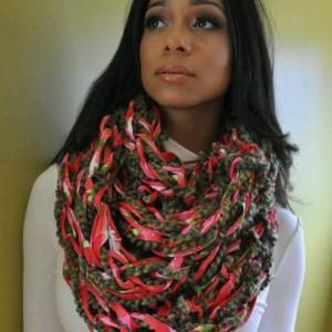 Multi Green Combo / MultiColor / Arm Knit / Handmade / Infinity / Hood  /  Loop /  Scarf