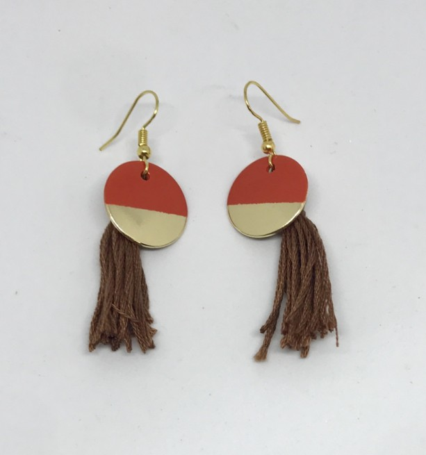 Orange &  Brown Tassel Charm Gold Earrings - Charm Jewelry - Tassel Earrings