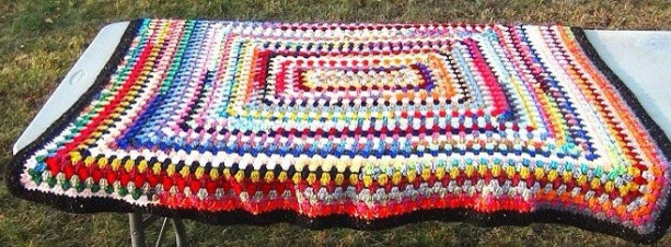 "Afghan - crochet rectangular granny square blanket 48"" x 42"" multi color rainbow throw - multiple textures - OOAK"