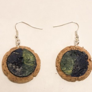 Handpainted cork dangle  earrings