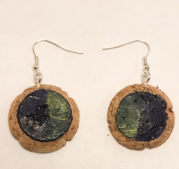 Handpainted cork dangle  earrings