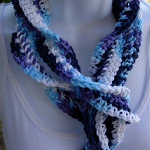 Women's Blue, Purple, and White Skinny SUMMER SCARF Small 100% Cotton Spiral Crochet Knit Narrow Lightweight Twisted Scarf, Ready to Ship in 3 Days