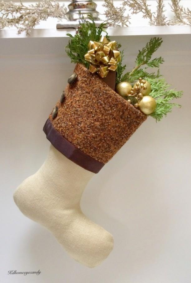 Cream Christmas Stocking, White Christmas Stocking, Burlap Christmas Stocking, Cream and Brown Christmas Stocking, Brown Stocking