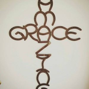 Amazing Grace Cross,Rustic Cross, Religious Cross, Handcrafted Cross, Metal Art Decor, Horseshoe Cross, Handmade WallDecor, Christian decor