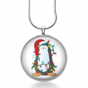Christmas Penguin Necklace - Animal Jewelry - Bird Pendant - Holiday