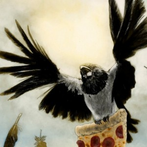 Pied Crow Stealing Pizza 8x10 Giclee Illustration Art Print, Bird, Corvid, Cheeky, Humor, Home Decor, Velvet Matte Finish, Made in USA