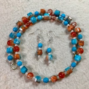 "Sedona Sky handmade beaded necklace/earrings set 18"" long"