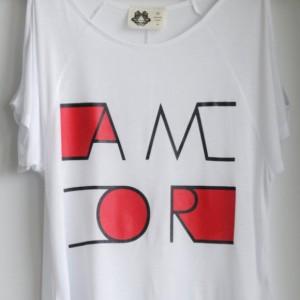 AMOR, handmade printed, tee, t-shirt, top