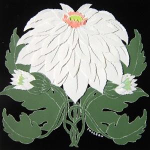 """4 Torn Paper - Art Deco Florals, 8 1/2 """" Squares"""