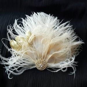 Wedding Hair Facsinator, Gold Feathers, Wedding Hair Accessories Bridal Hair Clip,Feather Hair Clip, Wedding Hair Clip, Wedding Head Piece